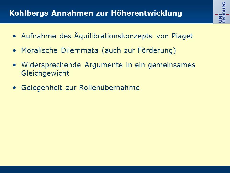 Kohlbergs Annahmen zur Höherentwicklung Aufnahme des Äquilibrationskonzepts von Piaget Moralische Dilemmata (auch zur Förderung) Widersprechende Argum