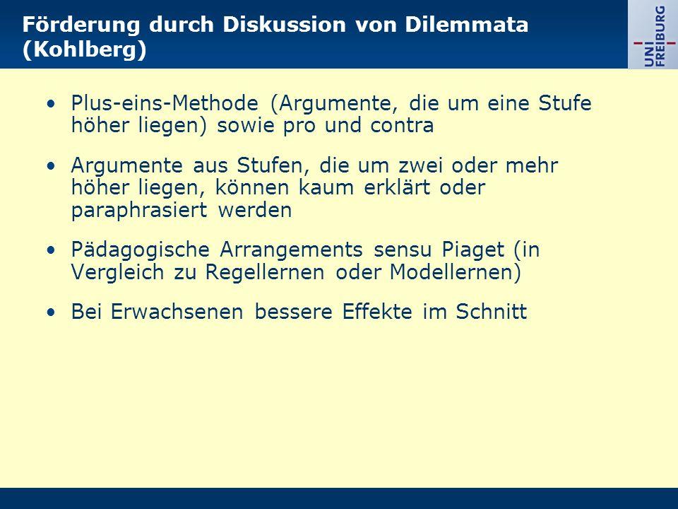 Förderung durch Diskussion von Dilemmata (Kohlberg) Plus-eins-Methode (Argumente, die um eine Stufe höher liegen) sowie pro und contra Argumente aus S