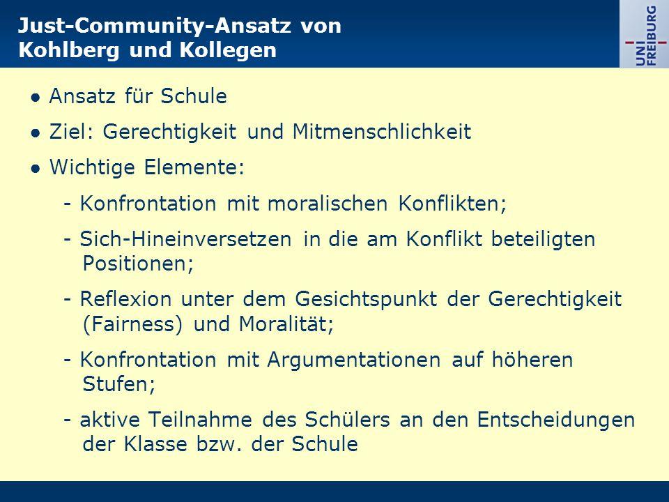 Just-Community-Ansatz von Kohlberg und Kollegen Ansatz für Schule Ziel: Gerechtigkeit und Mitmenschlichkeit Wichtige Elemente: - Konfrontation mit mor