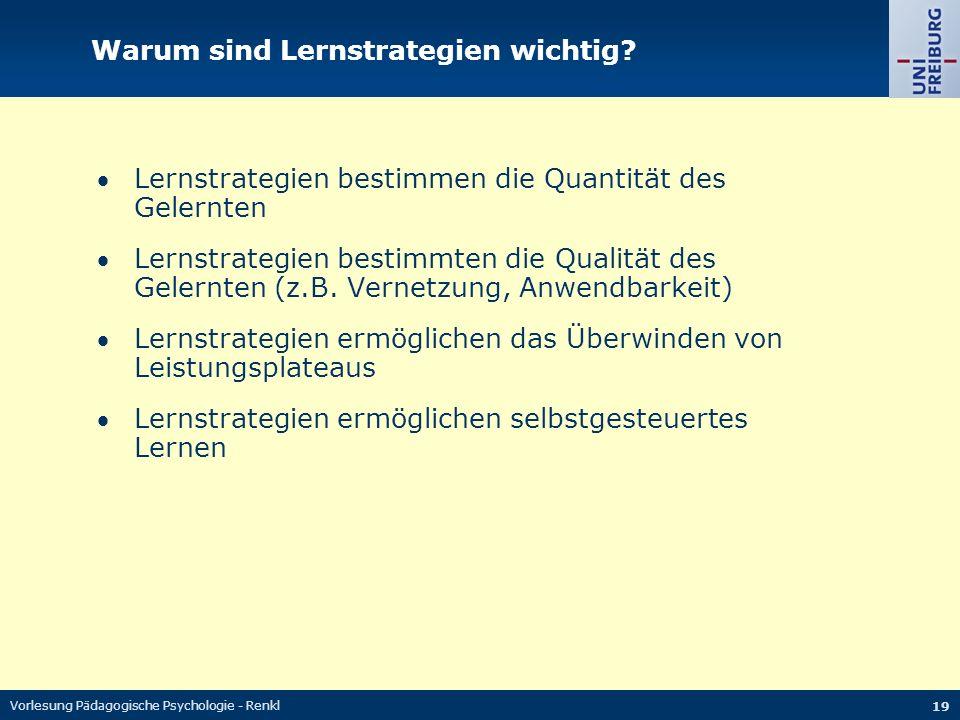 Vorlesung Pädagogische Psychologie - Renkl 19 Warum sind Lernstrategien wichtig.