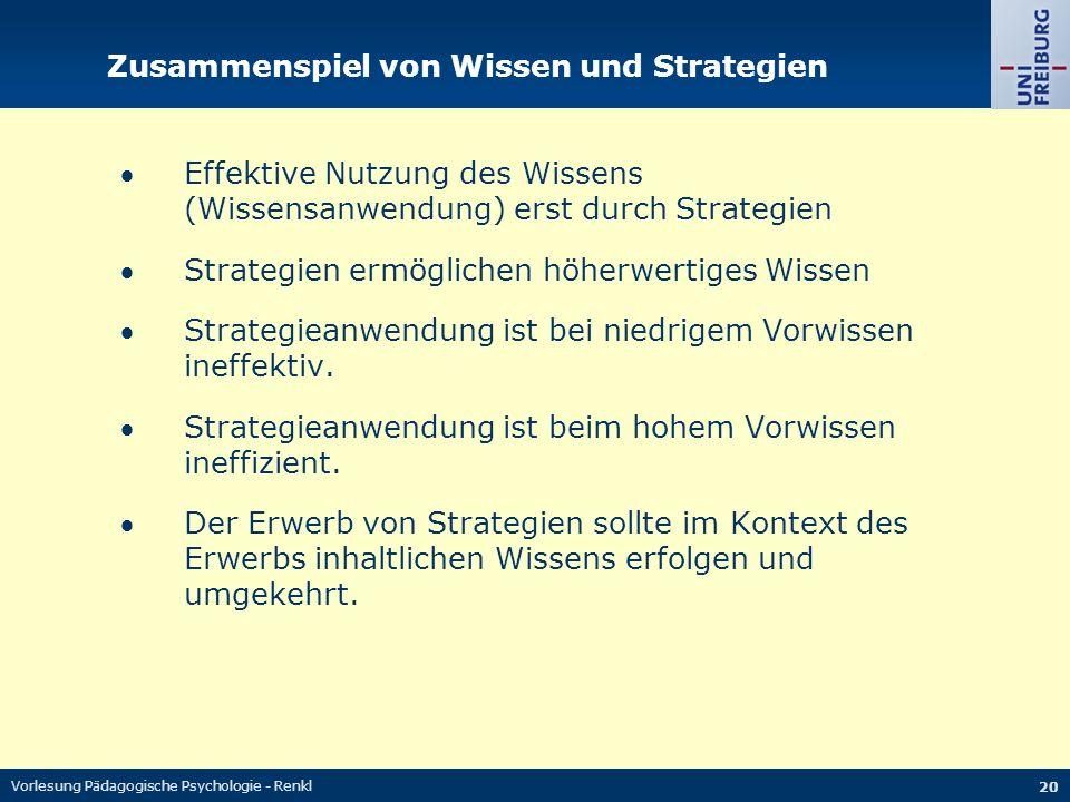 Vorlesung Pädagogische Psychologie - Renkl 20 Zusammenspiel von Wissen und Strategien Effektive Nutzung des Wissens (Wissensanwendung) erst durch Strategien Strategien ermöglichen höherwertiges Wissen Strategieanwendung ist bei niedrigem Vorwissen ineffektiv.