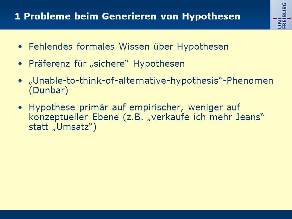 1 Probleme beim Generieren von Hypothesen Fehlendes formales Wissen über Hypothesen Präferenz für sichere Hypothesen Unable-to-think-of-alternative-hypothesis-Phenomen (Dunbar) Hypothese primär auf empirischer, weniger auf konzeptueller Ebene (z.B.