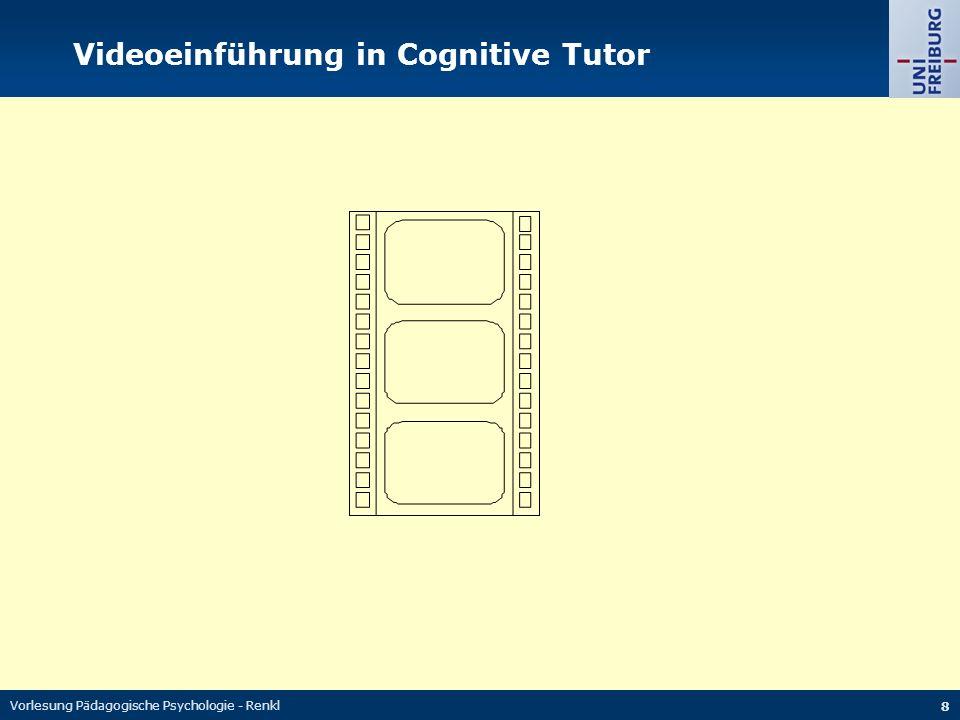 Vorlesung Pädagogische Psychologie - Renkl 8 Videoeinführung in Cognitive Tutor