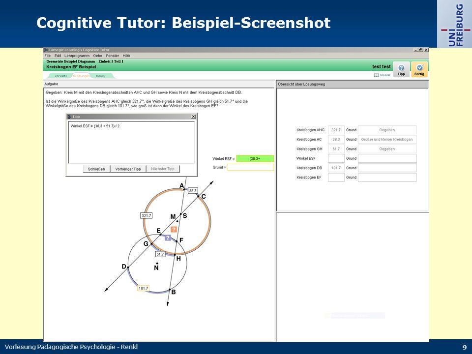 Vorlesung Pädagogische Psychologie - Renkl 9 Cognitive Tutor: Beispiel-Screenshot