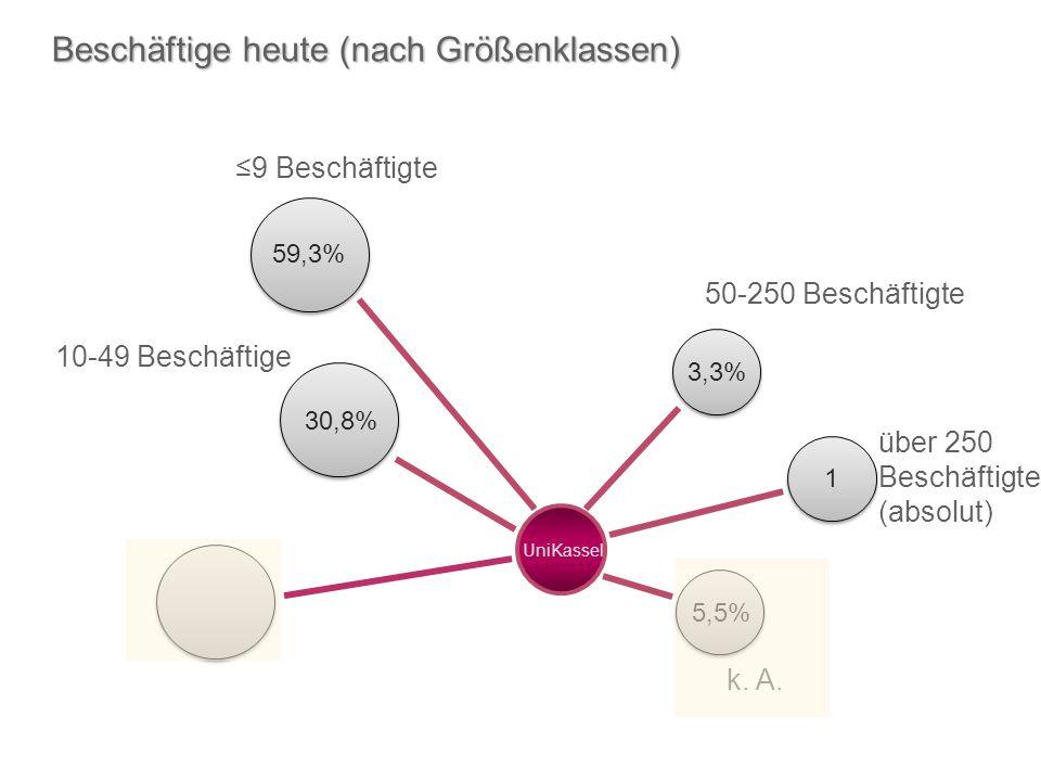 k. A. 5,5% über 250 Beschäftigte (absolut) 9 Beschäftigte UniKassel 50-250 Beschäftigte 10-49 Beschäftige Beschäftige heute (nach Größenklassen) 3,3%