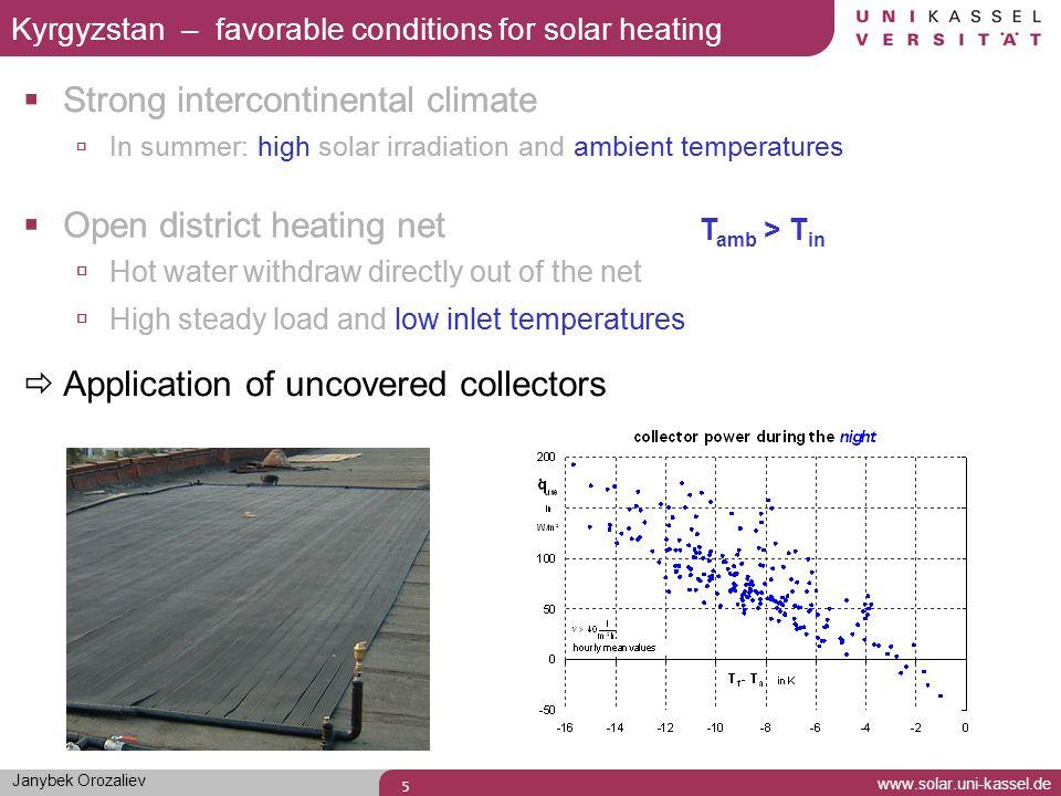 Janybek Orozaliev www.solar.uni-kassel.de 6 Air-to-water heat exchanger (AHX) Uncovered collector Multicomponent-System Uncovered air collector Air Collector (31 m²) Uncovered Collector (62 m²) Air-to-Water Heat Exchanger (AHX)