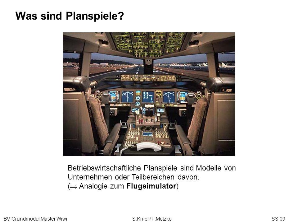 BV Grundmodul Master Wiwi S.Kniel / F.MotzkoSS 09 Betriebswirtschaftliche Planspiele sind Modelle von Unternehmen oder Teilbereichen davon. ( Analogie