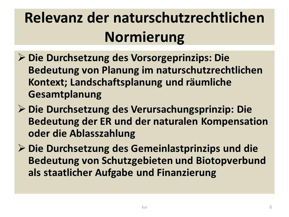 Relevanz der naturschutzrechtlichen Normierung Die Durchsetzung des Vorsorgeprinzips: Die Bedeutung von Planung im naturschutzrechtlichen Kontext; Landschaftsplanung und räumliche Gesamtplanung Die Durchsetzung des Verursachungsprinzip: Die Bedeutung der ER und der naturalen Kompensation oder die Ablasszahlung Die Durchsetzung des Gemeinlastprinzips und die Bedeutung von Schutzgebieten und Biotopverbund als staatlicher Aufgabe und Finanzierung 6kw
