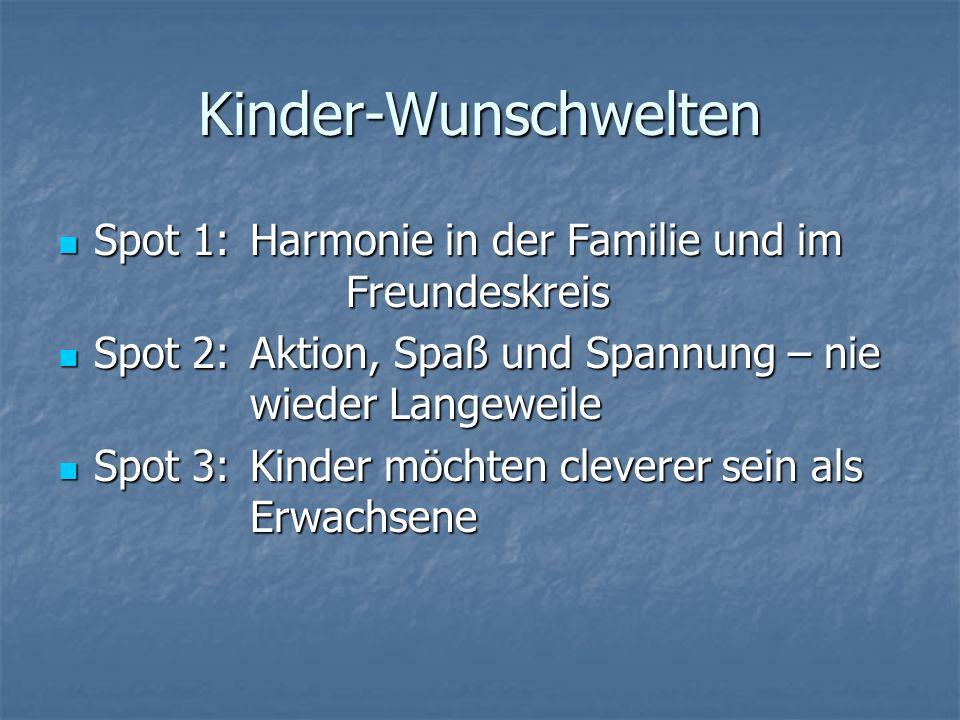Kinder-Wunschwelten Spot 1:Harmonie in der Familie und im Freundeskreis Spot 2:Aktion, Spaß und Spannung – nie wieder Langeweile Spot 3:Kinder möchten cleverer sein als Erwachsene