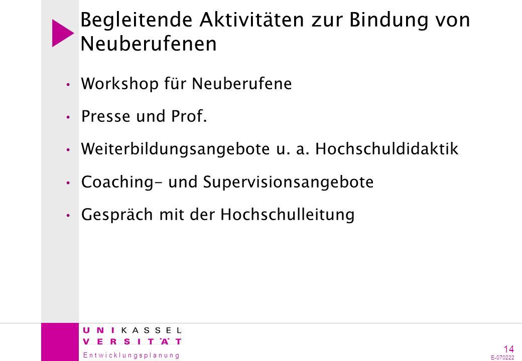 E n t w i c k l u n g s p l a n u n g 14 E-070222 Begleitende Aktivitäten zur Bindung von Neuberufenen Workshop für Neuberufene Presse und Prof. Weite