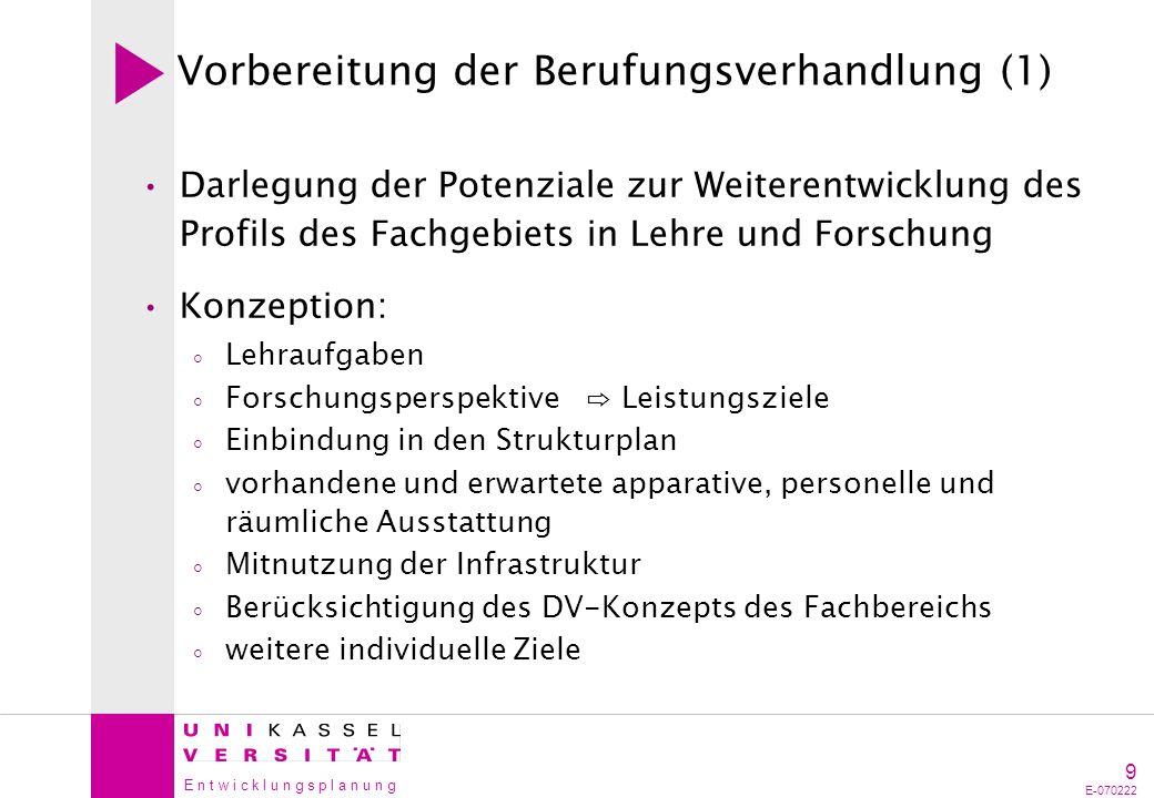 E n t w i c k l u n g s p l a n u n g 10 E-070222 Vorbereitung der Berufungsverhandlung (2) Erläuterung der Konzeption mit Dekanat Lehr- und Forschungsaufgaben Einbeziehung in den Strukturplan Ausstattung gem.