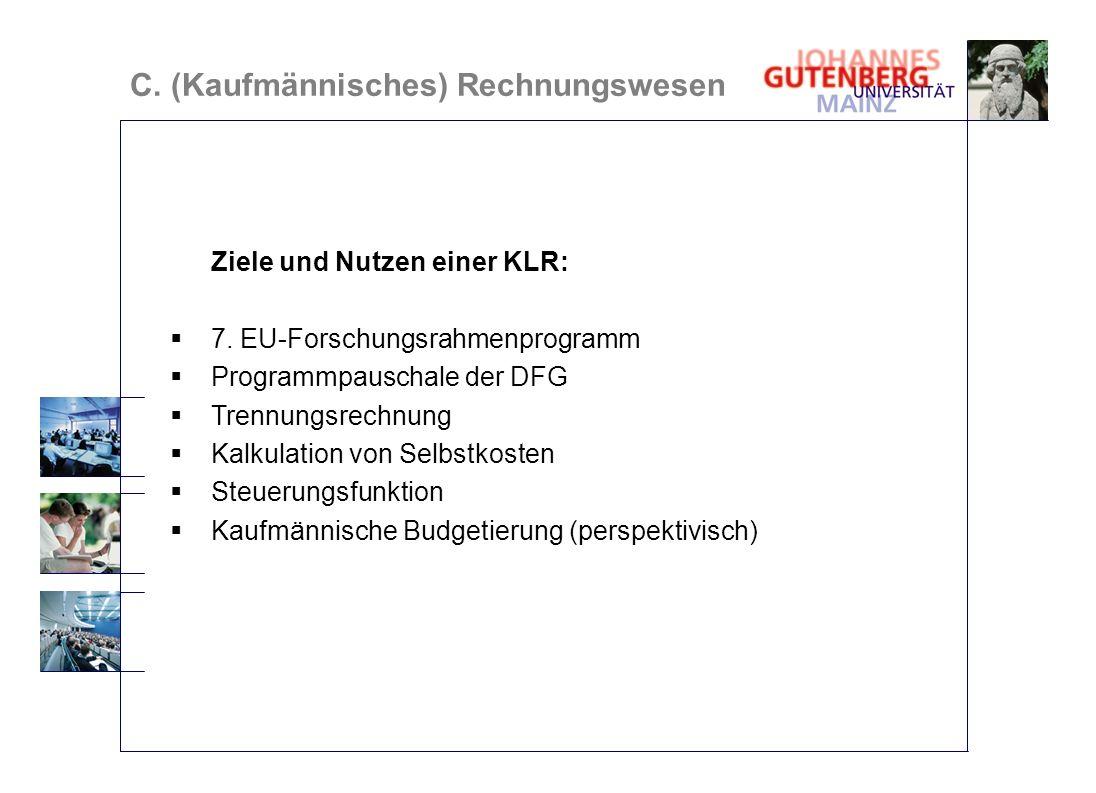 Ziele und Nutzen einer KLR: 7. EU-Forschungsrahmenprogramm Programmpauschale der DFG Trennungsrechnung Kalkulation von Selbstkosten Steuerungsfunktion