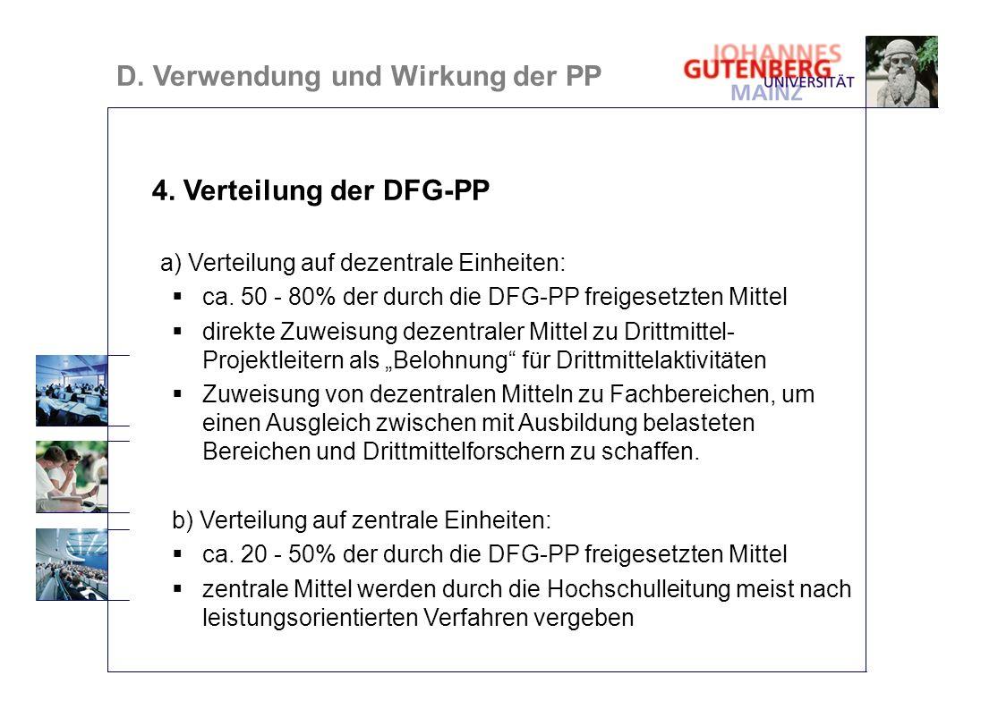 4. Verteilung der DFG-PP a) Verteilung auf dezentrale Einheiten: ca. 50 - 80% der durch die DFG-PP freigesetzten Mittel direkte Zuweisung dezentraler