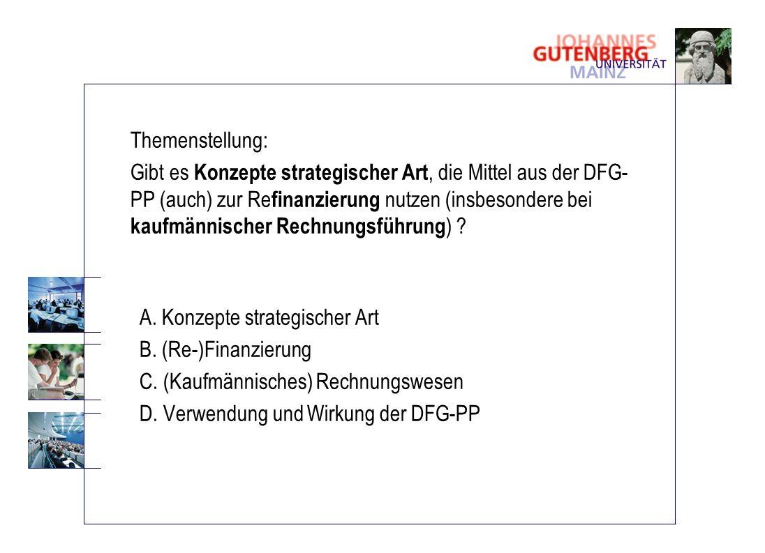 Themenstellung: Gibt es Konzepte strategischer Art, die Mittel aus der DFG- PP (auch) zur Re finanzierung nutzen (insbesondere bei kaufmännischer Rech