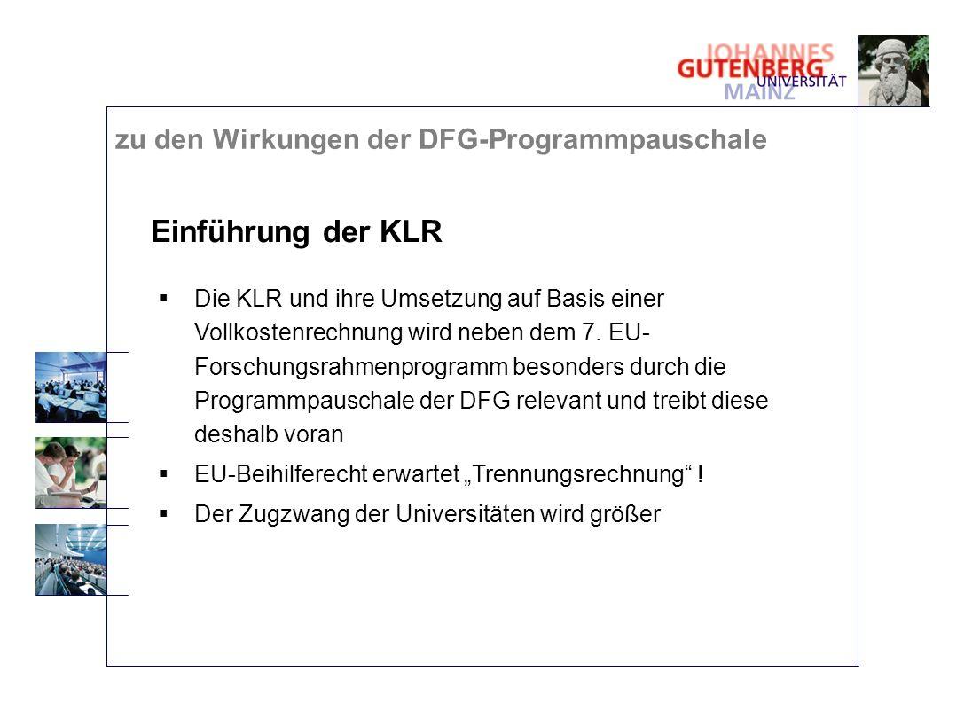 Einführung der KLR Die KLR und ihre Umsetzung auf Basis einer Vollkostenrechnung wird neben dem 7. EU- Forschungsrahmenprogramm besonders durch die Pr