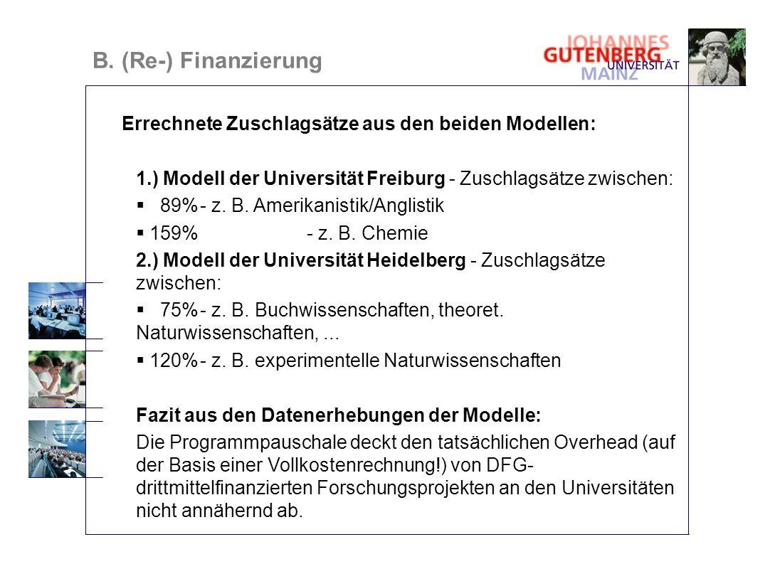 Errechnete Zuschlagsätze aus den beiden Modellen: 1.) Modell der Universität Freiburg - Zuschlagsätze zwischen: 89%- z. B. Amerikanistik/Anglistik 159