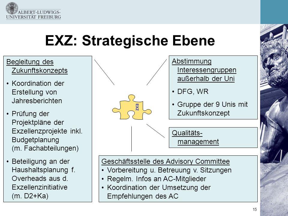 15 EXZ: Strategische EbeneEXZ Begleitung des Zukunftskonzepts Koordination der Erstellung von Jahresberichten Prüfung der Projektpläne der Exzellenzpr
