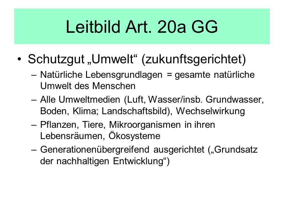 Leitbild Art. 20a GG Schutzgut Umwelt (zukunftsgerichtet) –Natürliche Lebensgrundlagen = gesamte natürliche Umwelt des Menschen –Alle Umweltmedien (Lu