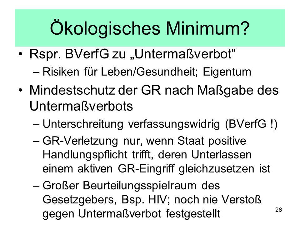 Ökologisches Minimum? Rspr. BVerfG zu Untermaßverbot –Risiken für Leben/Gesundheit; Eigentum Mindestschutz der GR nach Maßgabe des Untermaßverbots –Un