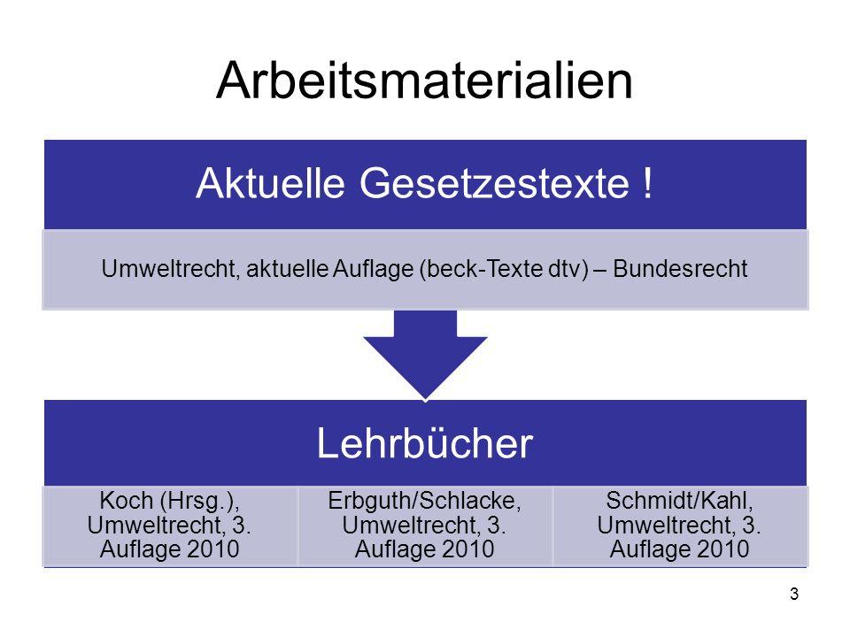 Arbeitsmaterialien Lehrbücher Koch (Hrsg.), Umweltrecht, 3. Auflage 2010 Erbguth/Schlacke, Umweltrecht, 3. Auflage 2010 Schmidt/Kahl, Umweltrecht, 3.