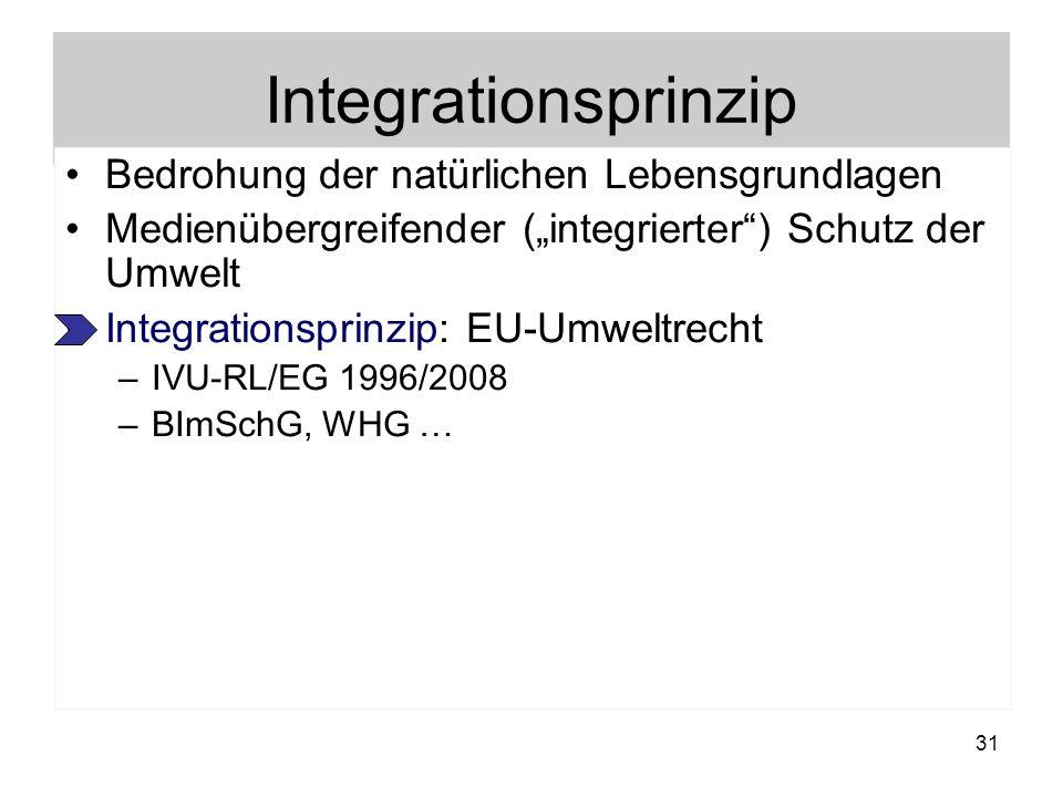 Integrationsprinzip Bedrohung der natürlichen Lebensgrundlagen Medienübergreifender (integrierter) Schutz der Umwelt Integrationsprinzip: EU-Umweltrec