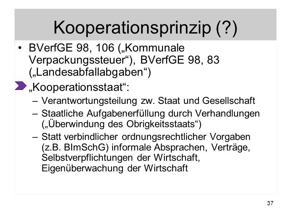 Kooperationsprinzip (?) BVerfGE 98, 106 (Kommunale Verpackungssteuer), BVerfGE 98, 83 (Landesabfallabgaben) Kooperationsstaat: –Verantwortungsteilung