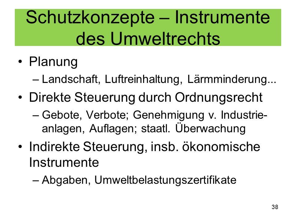 Schutzkonzepte – Instrumente des Umweltrechts Planung –Landschaft, Luftreinhaltung, Lärmminderung... Direkte Steuerung durch Ordnungsrecht –Gebote, Ve