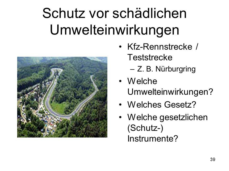 Schutz vor schädlichen Umwelteinwirkungen Kfz-Rennstrecke / Teststrecke –Z. B. Nürburgring Welche Umwelteinwirkungen? Welches Gesetz? Welche gesetzlic
