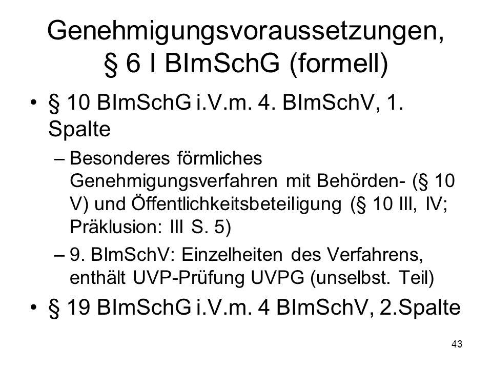 Genehmigungsvoraussetzungen, § 6 I BImSchG (formell) § 10 BImSchG i.V.m. 4. BImSchV, 1. Spalte –Besonderes förmliches Genehmigungsverfahren mit Behörd