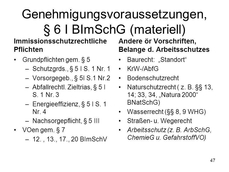 Genehmigungsvoraussetzungen, § 6 I BImSchG (materiell) Immissionsschutzrechtliche Pflichten Grundpflichten gem. § 5 –Schutzgrds., § 5 I S. 1 Nr. 1 –Vo