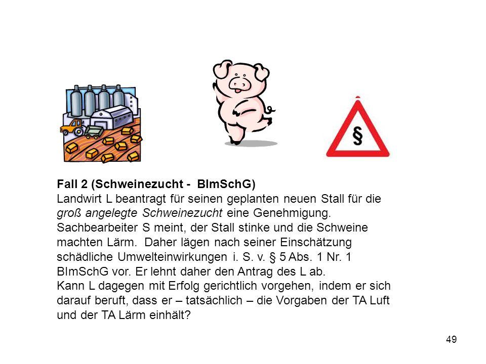 Fall 2 (Schweinezucht - BImSchG) Landwirt L beantragt für seinen geplanten neuen Stall für die groß angelegte Schweinezucht eine Genehmigung. Sachbear