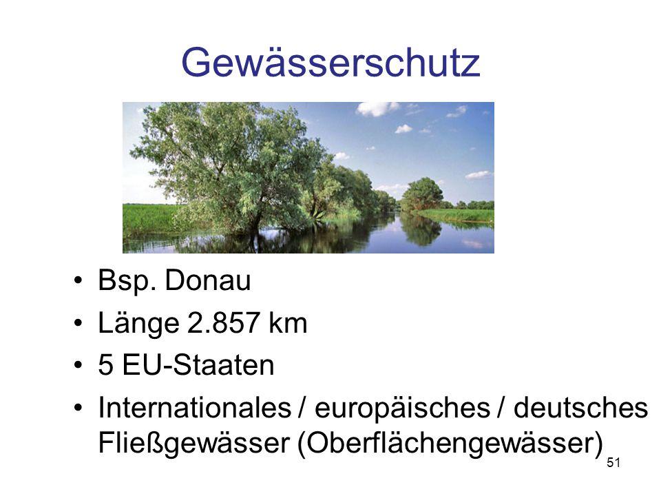 Gewässerschutz Bsp. Donau Länge 2.857 km 5 EU-Staaten Internationales / europäisches / deutsches Fließgewässer (Oberflächengewässer) 51