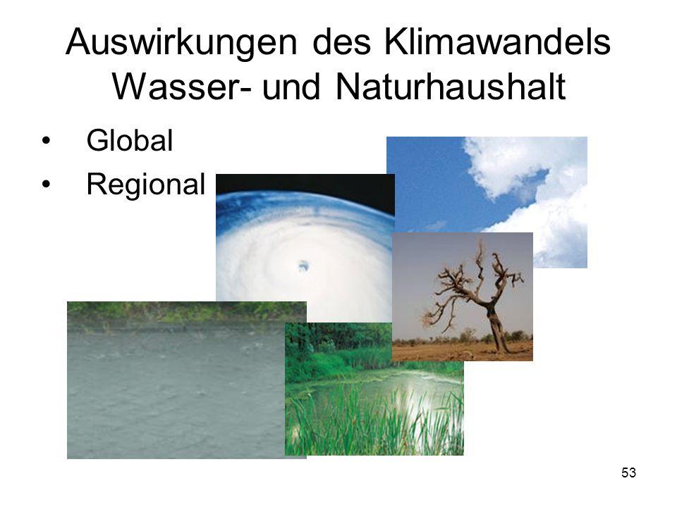 Auswirkungen des Klimawandels Wasser- und Naturhaushalt Global Regional 53