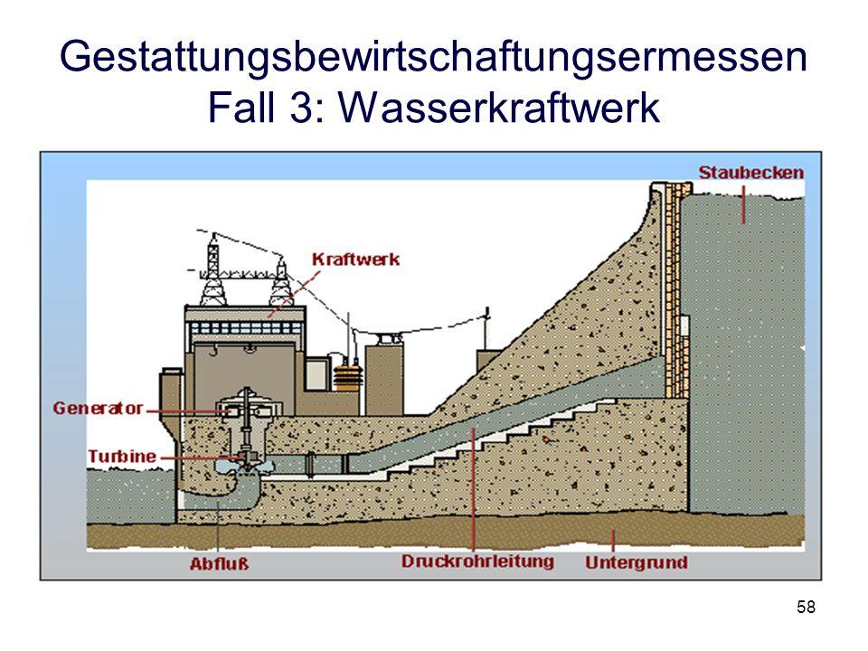 Gestattungsbewirtschaftungsermessen Fall 3: Wasserkraftwerk 58