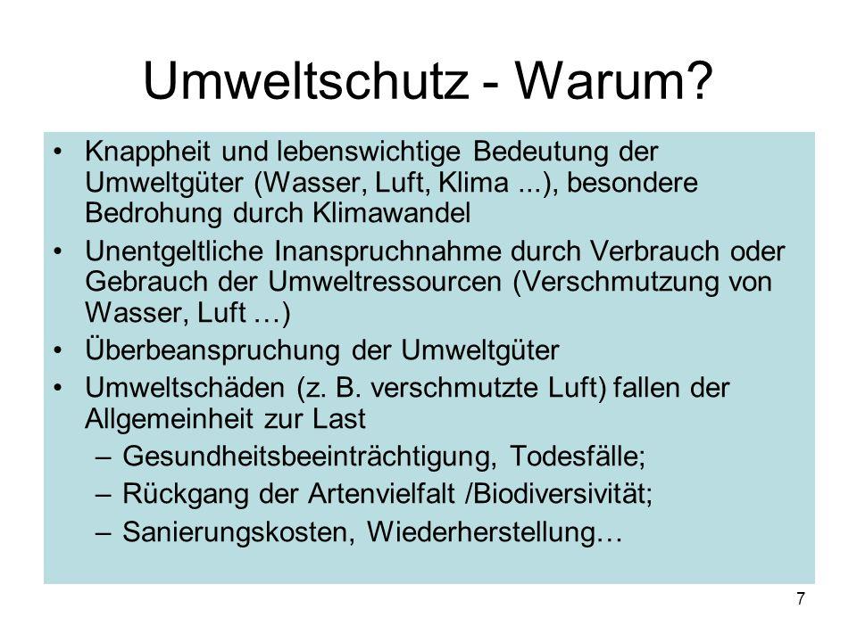 Umweltschutz - Warum? Knappheit und lebenswichtige Bedeutung der Umweltgüter (Wasser, Luft, Klima...), besondere Bedrohung durch Klimawandel Unentgelt