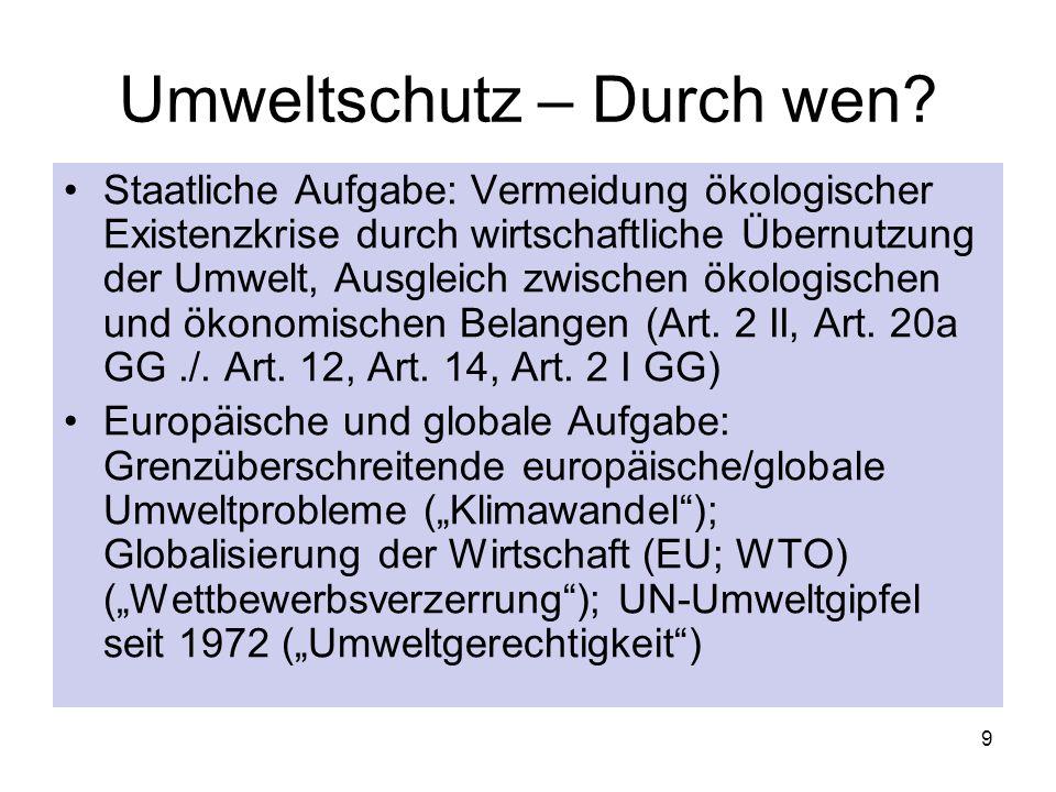 Umweltrecht Umweltschutz durch Recht Völkerrecht, EU-Recht, deutsches Bundes- und Landesrecht Zersplittertes deutsches Umweltrecht 10