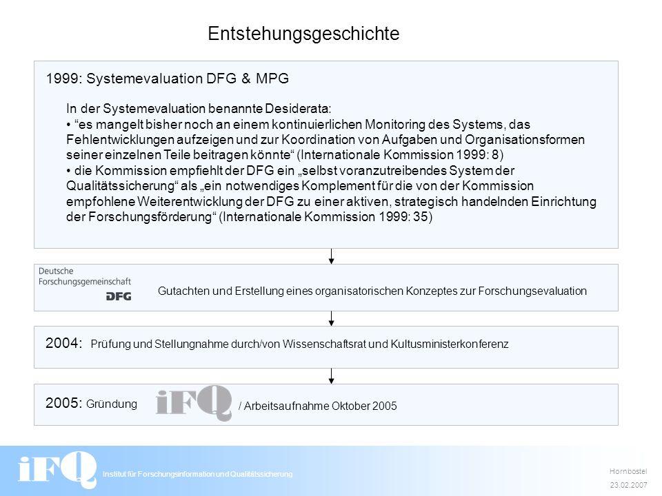 Gutachten und Erstellung eines organisatorischen Konzeptes zur Forschungsevaluation Institut für Forschungsinformation und Qualitätssicherung In der S