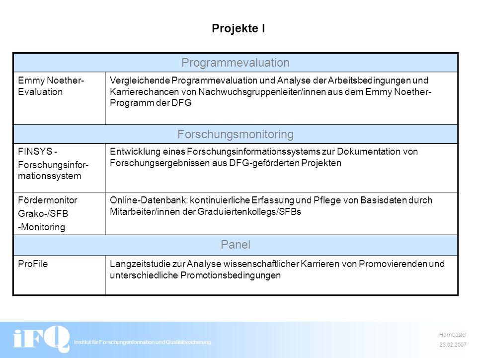 Institut für Forschungsinformation und Qualitätssicherung Projekte I Programmevaluation Emmy Noether- Evaluation Vergleichende Programmevaluation und