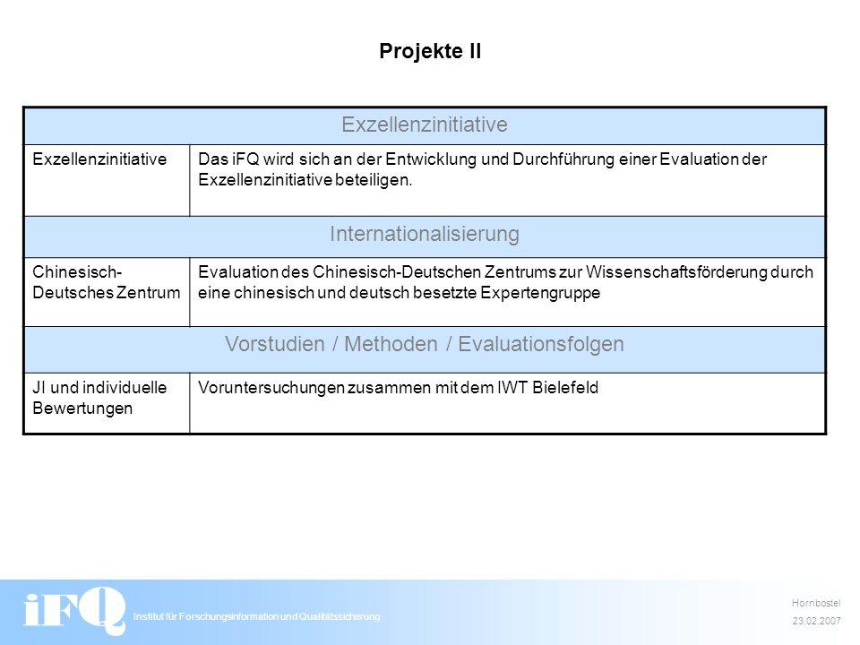 Institut für Forschungsinformation und Qualitätssicherung Projekte II Exzellenzinitiative Das iFQ wird sich an der Entwicklung und Durchführung einer