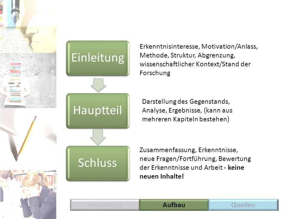 Grundsätze EinleitungHauptteilSchluss Erkenntnisinteresse, Motivation/Anlass, Methode, Struktur, Abgrenzung, wissenschaftlicher Kontext/Stand der Fors