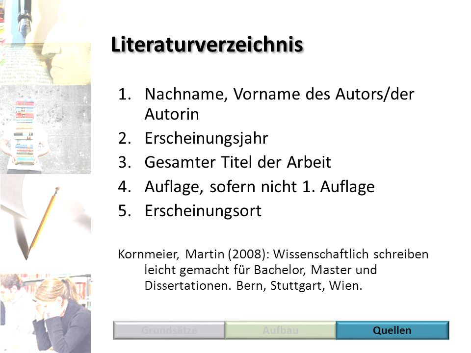 Literaturverzeichnis 1.Nachname, Vorname des Autors/der Autorin 2.Erscheinungsjahr 3.Gesamter Titel der Arbeit 4.Auflage, sofern nicht 1. Auflage 5.Er