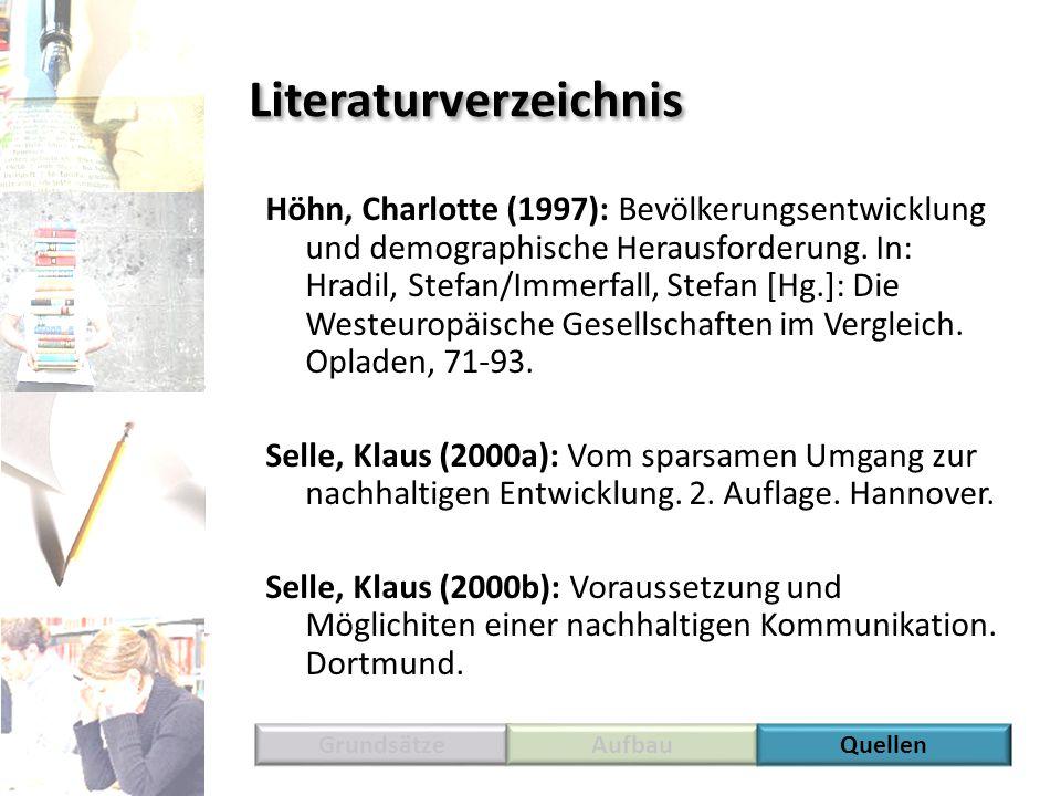 Literaturverzeichnis Höhn, Charlotte (1997): Bevölkerungsentwicklung und demographische Herausforderung. In: Hradil, Stefan/Immerfall, Stefan [Hg.]: D