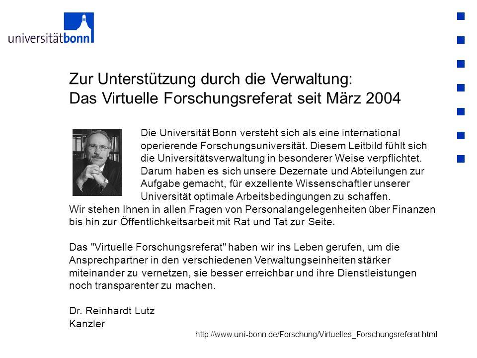 Zur Unterstützung durch die Verwaltung: Das Virtuelle Forschungsreferat seit März 2004 Die Universität Bonn versteht sich als eine international operierende Forschungsuniversität.