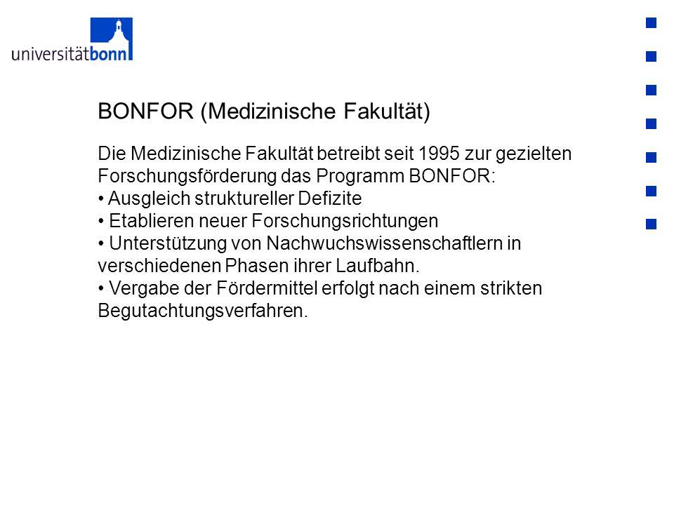 BONFOR (Medizinische Fakultät) Die Medizinische Fakultät betreibt seit 1995 zur gezielten Forschungsförderung das Programm BONFOR: Ausgleich strukture