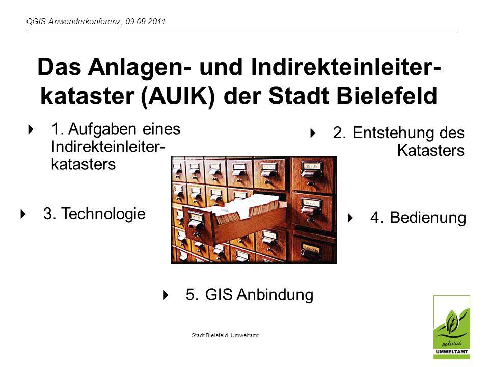 QGIS Anwenderkonferenz, 09.09.2011 Stadt Bielefeld, Umweltamt Das Anlagen- und Indirekteinleiter- kataster (AUIK) der Stadt Bielefeld 1.