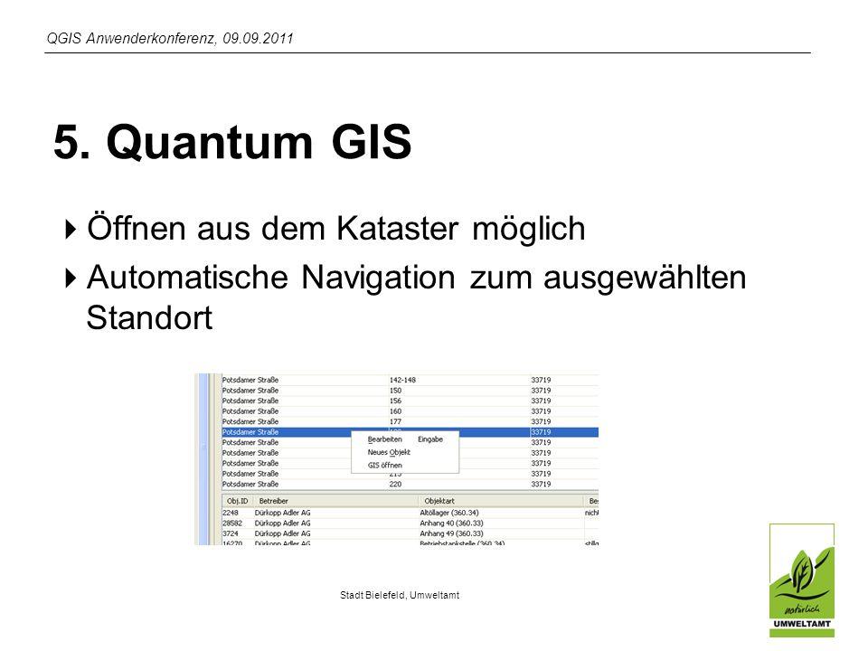 QGIS Anwenderkonferenz, 09.09.2011 Stadt Bielefeld, Umweltamt 5.