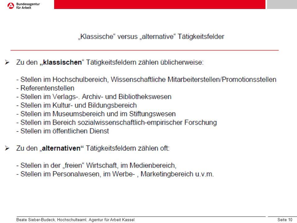Seite 10 Beate Sieber-Budeck, Hochschulteaml, Agentur für Arbeit Kassel