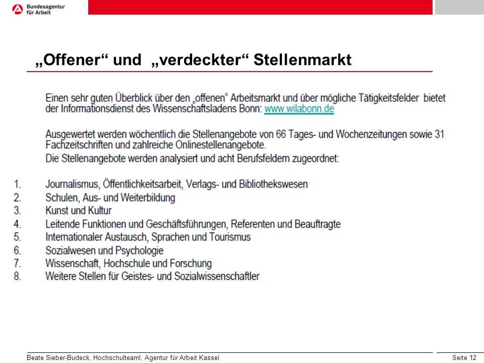 Seite 12 Offener und verdeckter Stellenmarkt Beate Sieber-Budeck, Hochschulteaml, Agentur für Arbeit Kassel