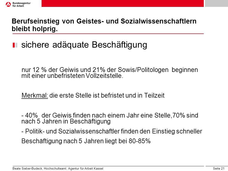 Seite 21 Berufseinstieg von Geistes- und Sozialwissenschaftlern bleibt holprig. sichere adäquate Beschäftigung nur 12 % der Geiwis und 21% der Sowis/P