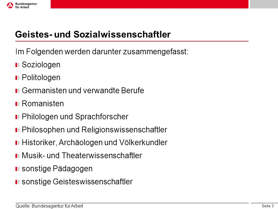Seite 3 Geistes- und Sozialwissenschaftler Im Folgenden werden darunter zusammengefasst: Soziologen Politologen Germanisten und verwandte Berufe Roman